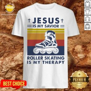 Jesus Is My Savior Roller Skating Is My Therapy Vintage Shirt- Design by Potatotees.com