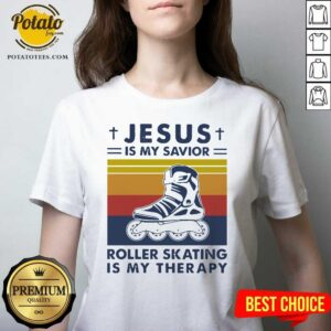 Jesus Is My Savior Roller Skating Is My Therapy Vintage V-neck- Design by Potatotees.com