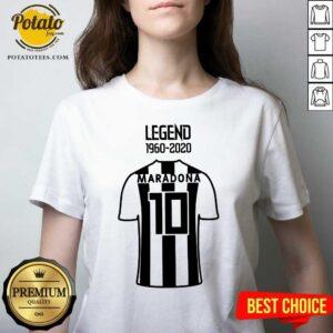 Official Legend 1960 2020 Diego Maradona 10 V-neck- Design By Potatotees.com