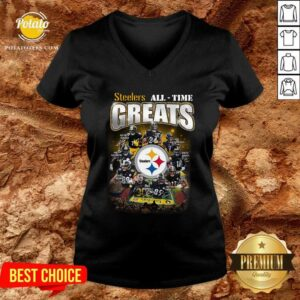 Pittsburgh Steelers All Time Greats Signatures V-neck- Design by Potatotees.com