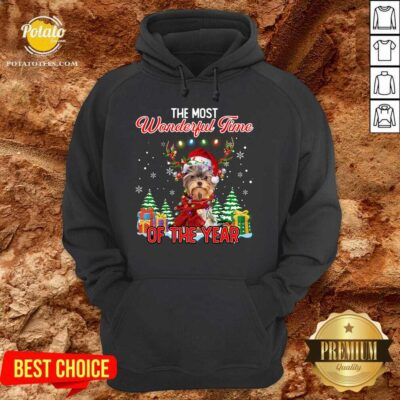 Official Yorkshire Terrier The Most Wonderful Time Of The Year Christmas Hoodie - Design by Potatotees.com
