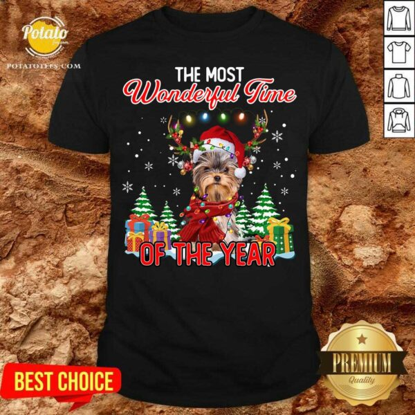 Official Yorkshire Terrier The Most Wonderful Time Of The Year Christmas Shirt - Design by Potatotees.com