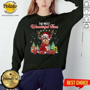 Official Yorkshire Terrier The Most Wonderful Time Of The Year Christmas Sweatshirt - Design by Potatotees.com