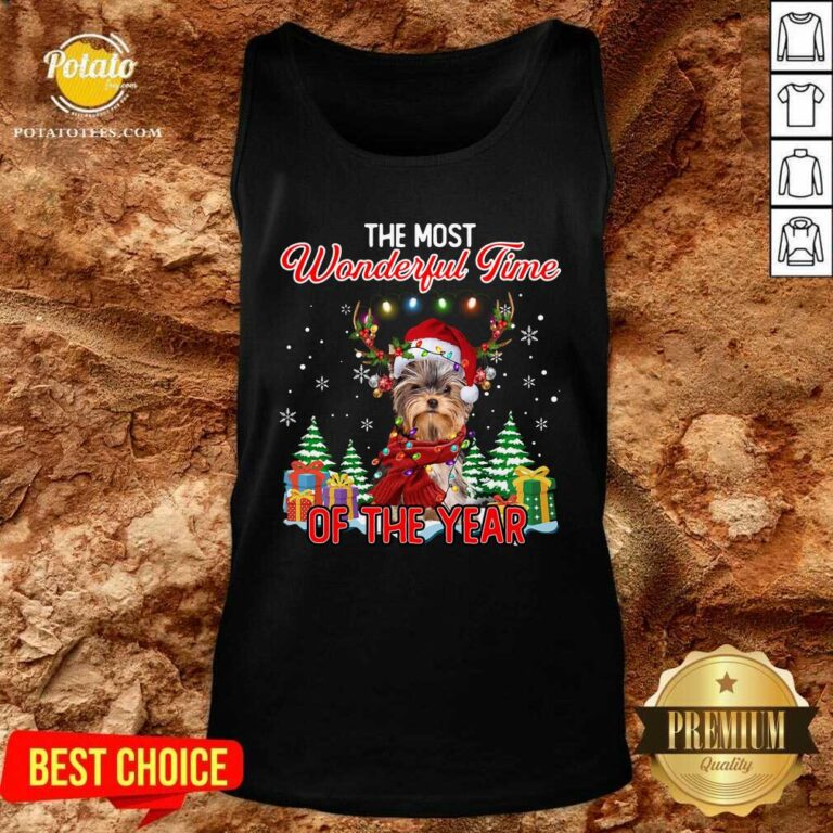 Official Yorkshire Terrier The Most Wonderful Time Of The Year Christmas Tank Top - Design by Potatotees.com