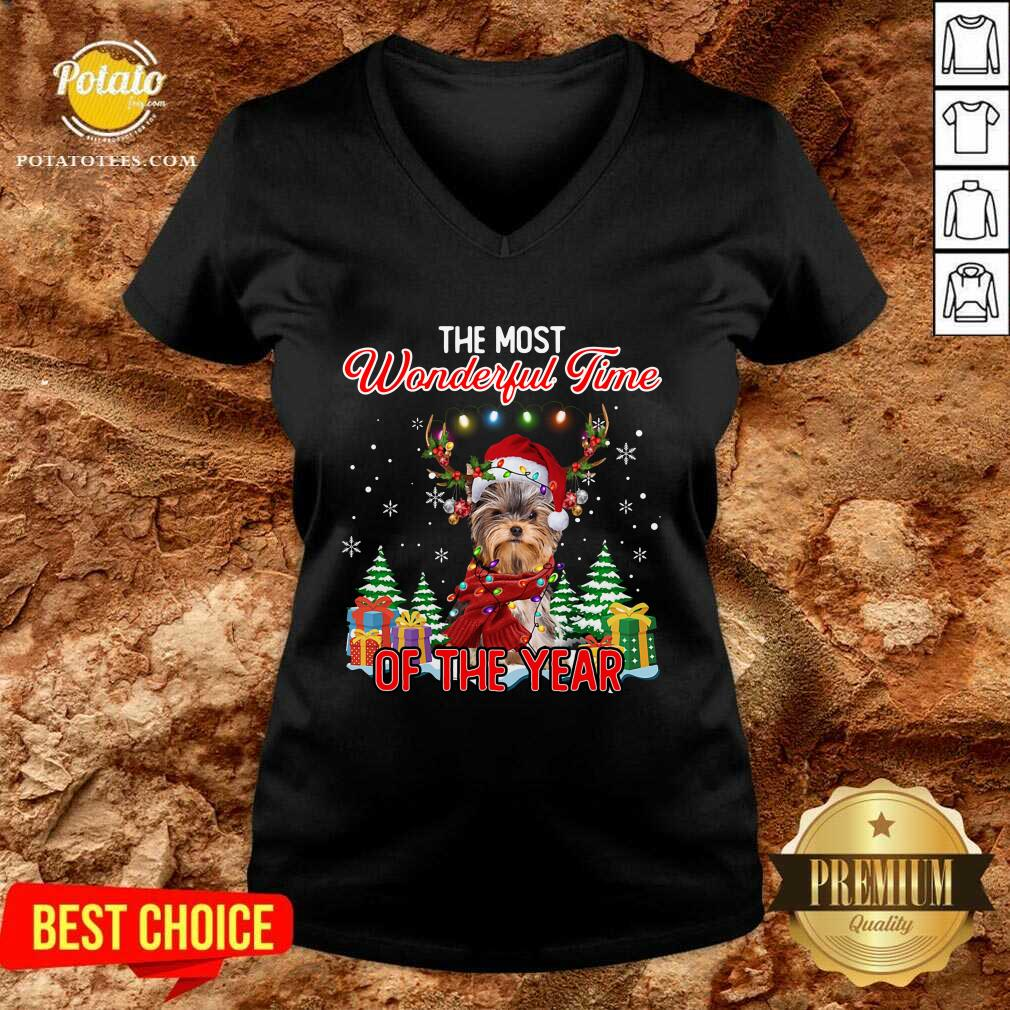 Official Yorkshire Terrier The Most Wonderful Time Of The Year Christmas V-neck - Design by Potatotees.com