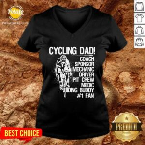 Cycling Dad Coach Sponsor Mechanic Driver Pit Crew Medic Riding Buddy V-neck - Design by Potatotees.com