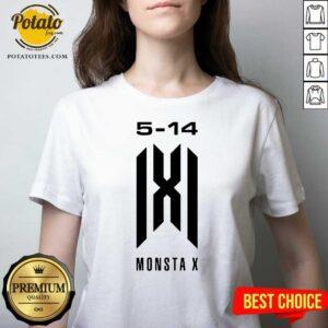Monsta X Merch Monsta X 5-14 Anniversary V-neck - Design by Potatotees.com