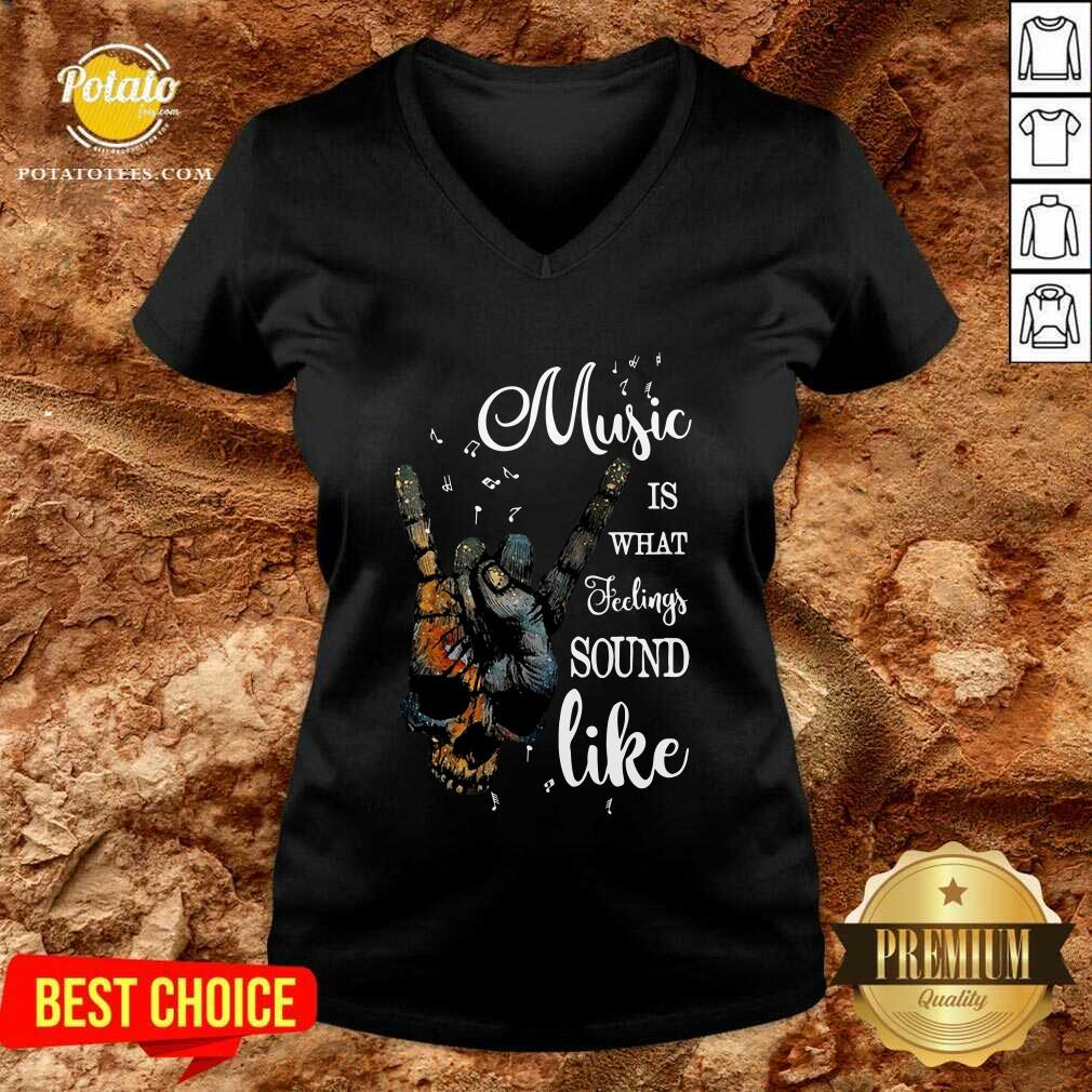 Music Is What Feelings Sound Like Peace V-neck - Design by Potatotees.com