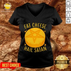 Eat Cheese Hail Satan V-neck - Design by Potatotees.com