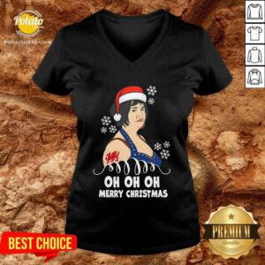 Premium Nessa Jenkins Oh Oh Oh Merry Christmas V-neck - Design by potatotees.com