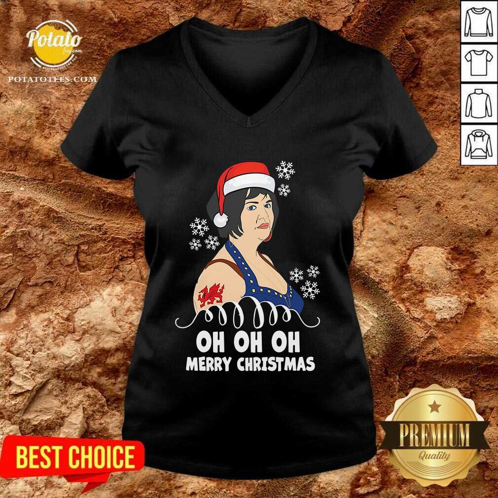 Premium Nessa Jenkins Oh Oh Oh Merry Christmas V-neck - Design by potatotees.com
