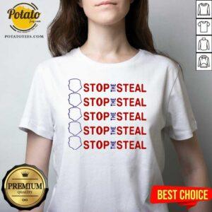 Premium Trump Stop The Steal V-neck - Design by Potatotees.com