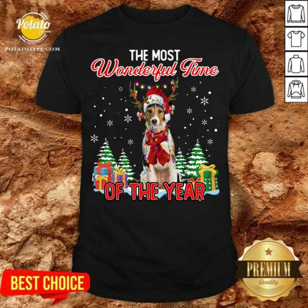 Premium Wire Fox Terrier The Most Wonderful Time Of The Year Christmas Shirt - Design by Potatotees.com