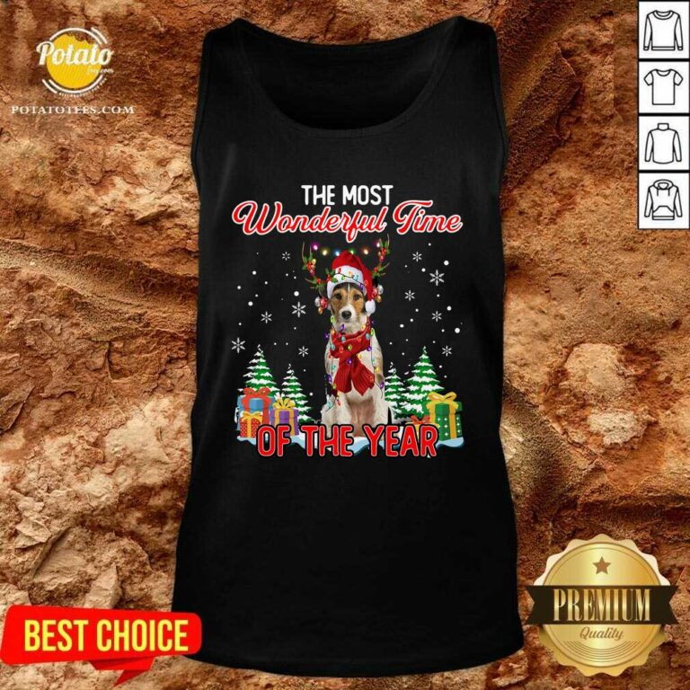 Premium Wire Fox Terrier The Most Wonderful Time Of The Year Christmas Tank Top - Design by Potatotees.com