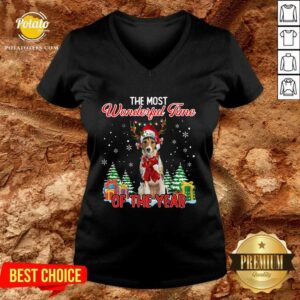 Premium Wire Fox Terrier The Most Wonderful Time Of The Year Christmas V-neck - Design by Potatotees.com