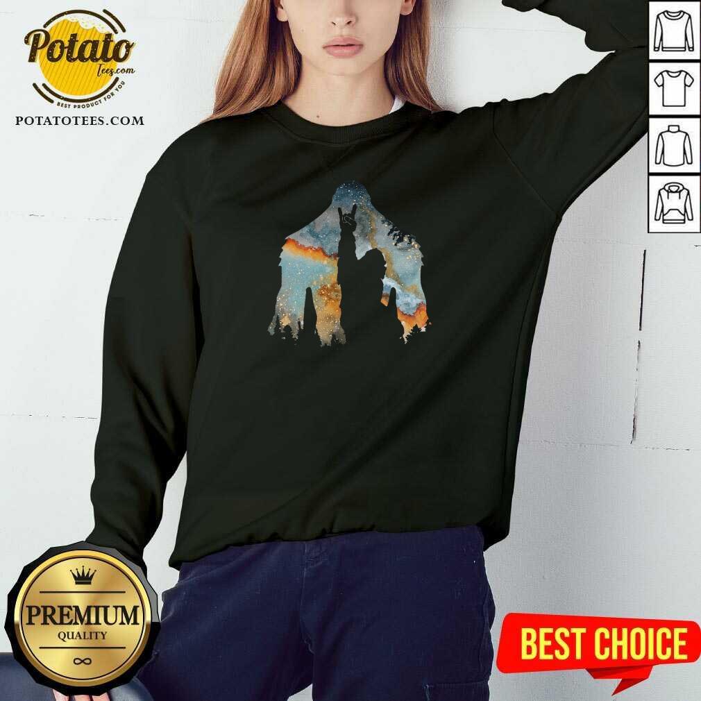Bigfoot Rock And Roll Sweatshirt - Design by Potatotees.com