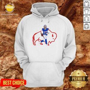 Buffalo Bills 17 Josh Allen Rugby Ball Hoodie- Design by Potatotees.com