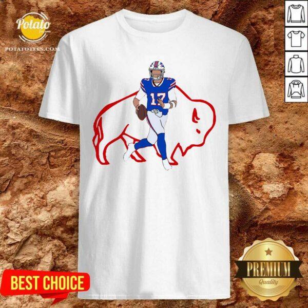Buffalo Bills 17 Josh Allen Rugby Ball Shirt- Design by Potatotees.com