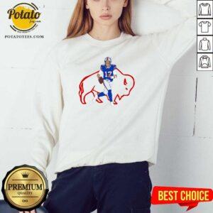 Buffalo Bills 17 Josh Allen Rugby Ball Sweatshirt- Design by Potatotees.com