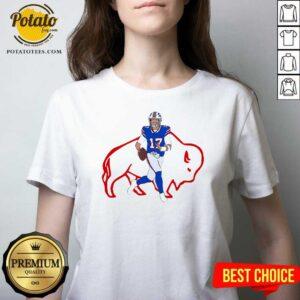 Buffalo Bills 17 Josh Allen Rugby Ball V-neck- Design by Potatotees.com