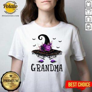 Grandma Witch Hat Halloween V-neck - Design by Potatotees.com