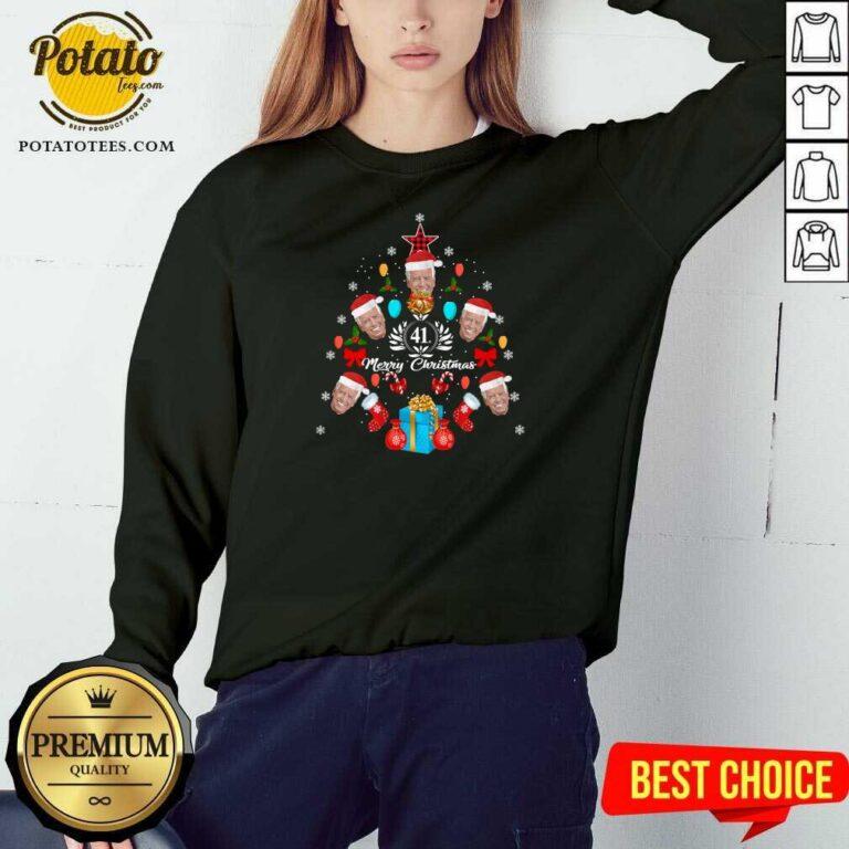 Joe Biden Christmas Tree 41th Merry Christmas Sweatshirt - Design by Potatotees.com