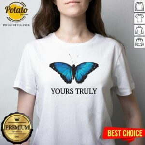 Phora Merch Yours Truly Blue Butterfly White V-neck - Design by Potatotees.com