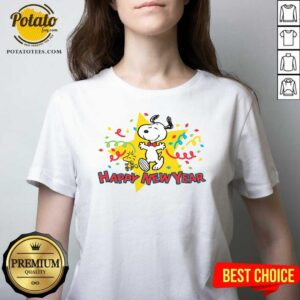 Snoopy Happy New Year V-neck - Design By Potatotees.com