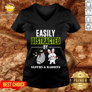 Easily Distracted By Sloths Lover Design Cute Rabbits V-neck - Design by Potatotees.com