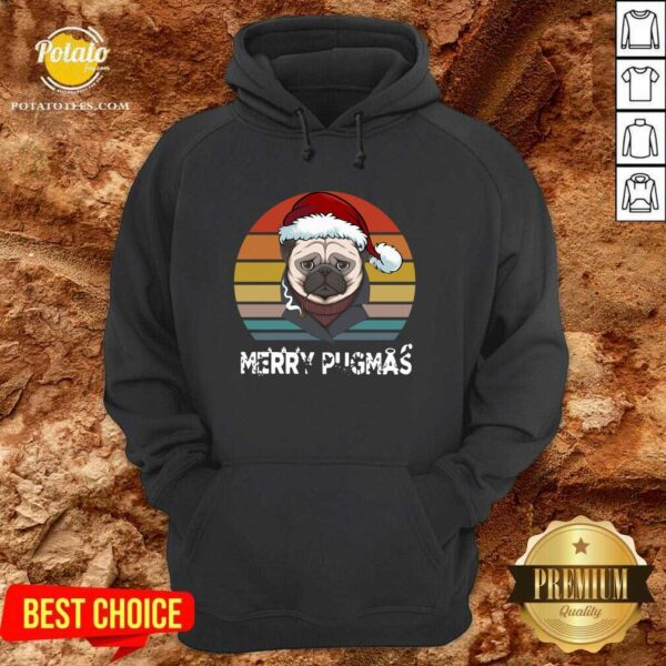 Top Merry Pugmas Funny Pug Christmas Style Vintage Hoodie - Design by potatotees.com