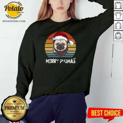 Top Merry Pugmas Funny Pug Christmas Style Vintage Sweatshirt - Design by potatotees.com