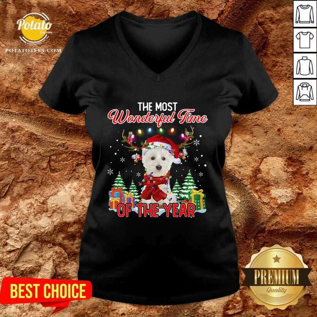 Top West Highland White Terrier The Most Wonderful Time Of The Year Ugly Christmas V-neck