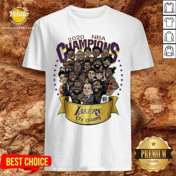 Awesome 2020 Nba Champions Los Angeles Lakers 17 Champs Cartoon Shirt - Design By Earstees.com