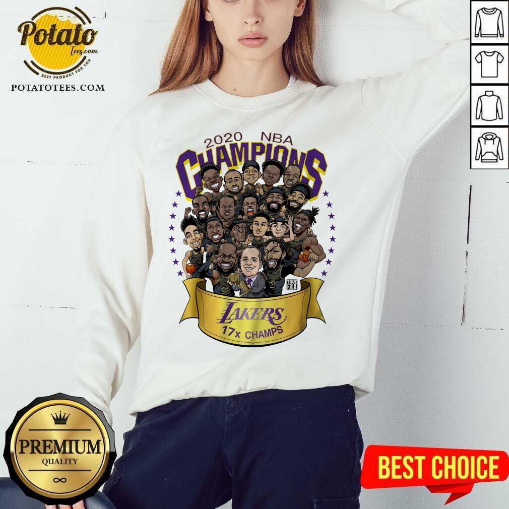 Awesome 2020 Nba Champions Los Angeles Lakers 17 Champs Cartoon  Sweatshirt- Design By Potatotees.com