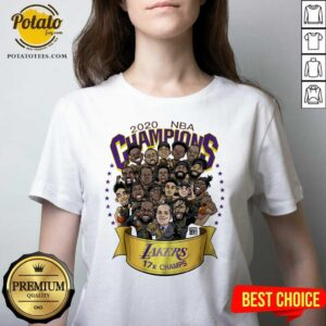 Awesome 2020 Nba Champions Los Angeles Lakers 17 Champs Cartoon V-neck - Design By Earstees.com