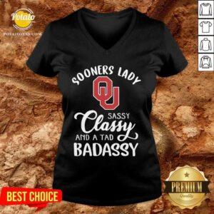 Oklahoma Sooners Lady Sassy Classy And A Tad Badassy V-neck - Design by Potatotees.com