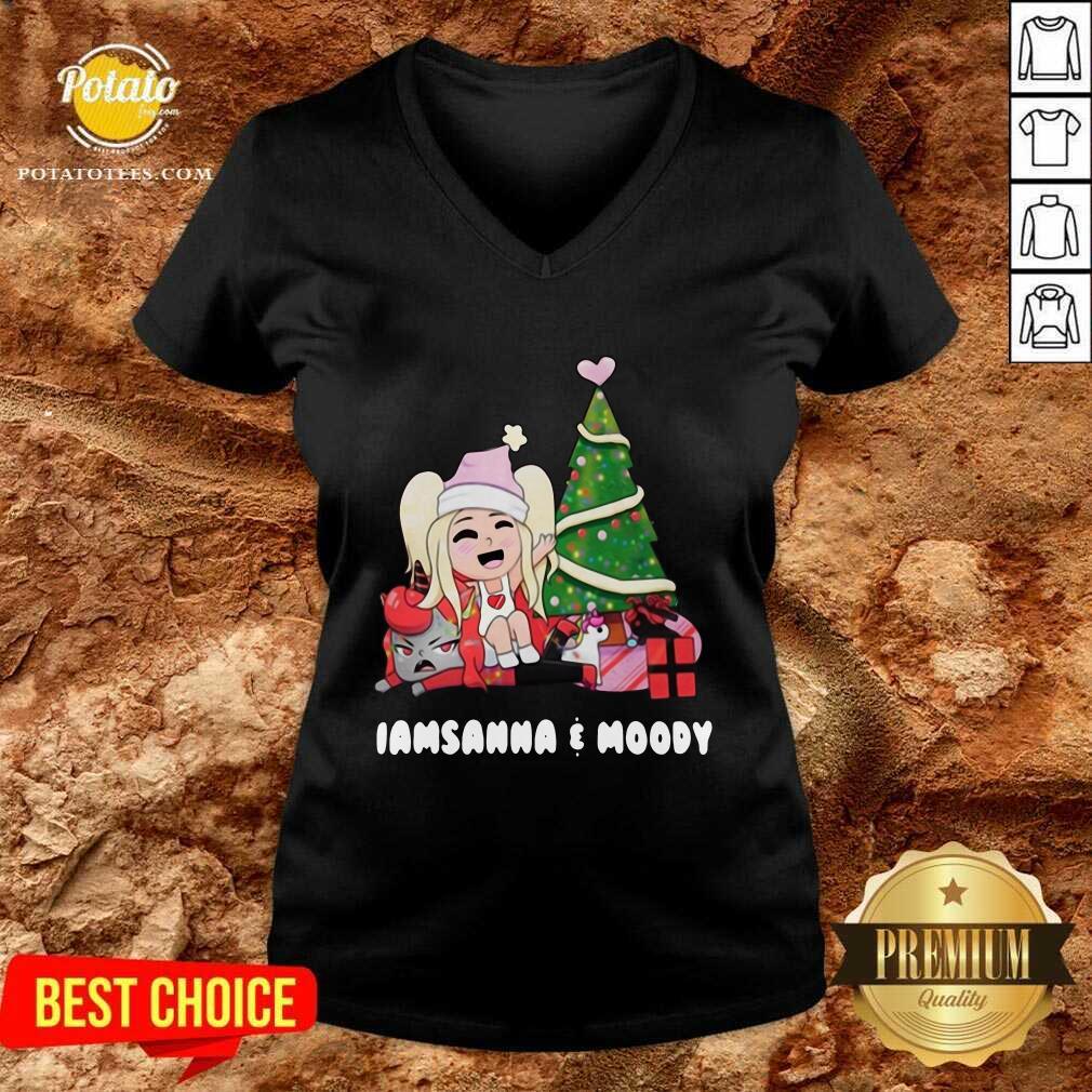 Beautiful I Am Sanna And Moody Christmas V-neck - Design By Earstees.com