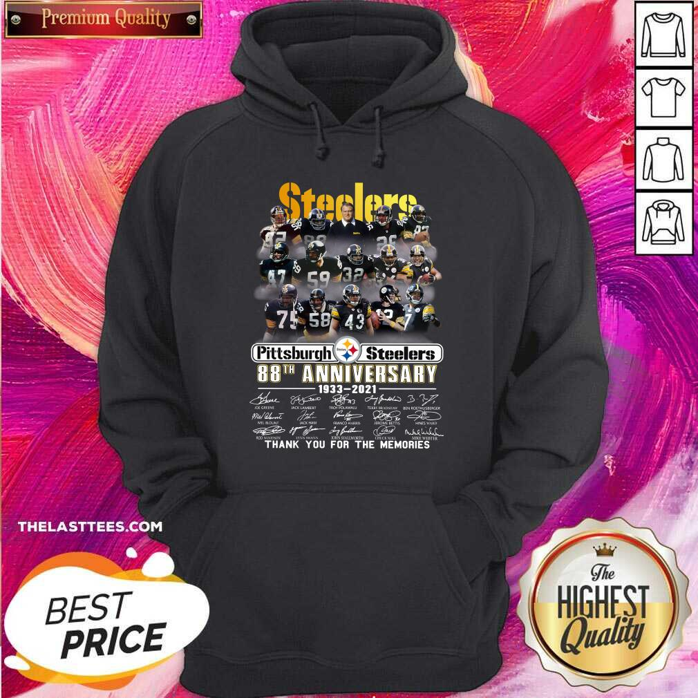Cute Pittsburgh Steelers 88th Anniversary Thank You For The Memories Signatures Hoodie  - Design By Potatotees