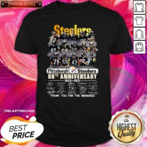 Cute Pittsburgh Steelers 88th Anniversary Thank You For The Memories Signatures Shirt - Design By Potatotees