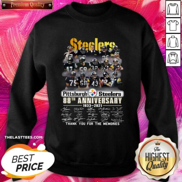Cute Pittsburgh Steelers 88th Anniversary Thank You For The Memories Signatures Sweatshirt - Design By Potatotees