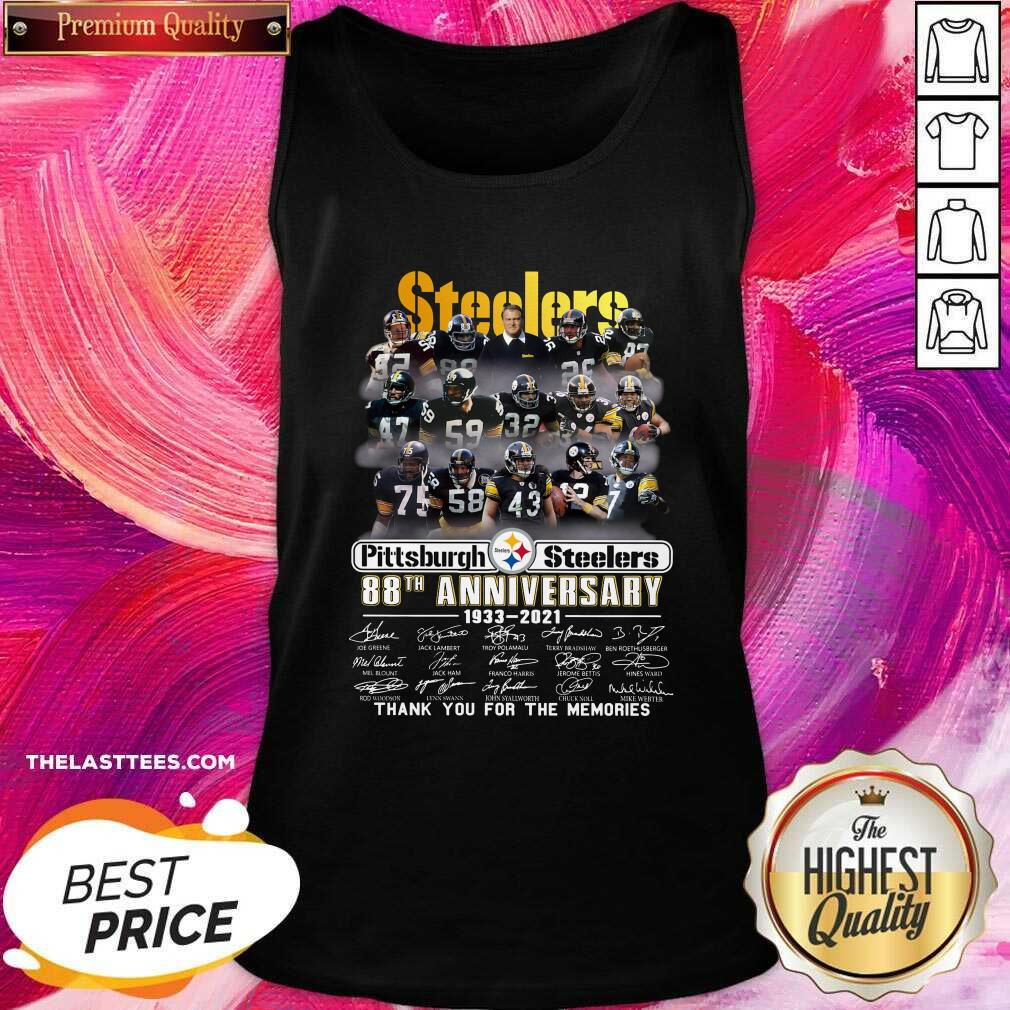 Cute Pittsburgh Steelers 88th Anniversary Thank You For The Memories Signatures Tank Top  - Design By Potatotees