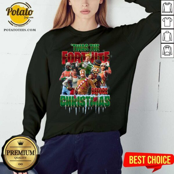 Funny Twas The Fortnite Before Christmas Sweatshirt - Design By Earstees.com