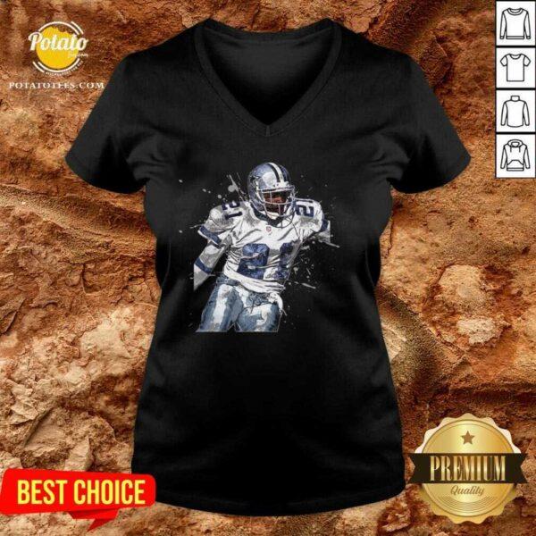 Dallas Cowboys Football Players 21 NFL Playoffs V-neck - Design By Potatotees.com