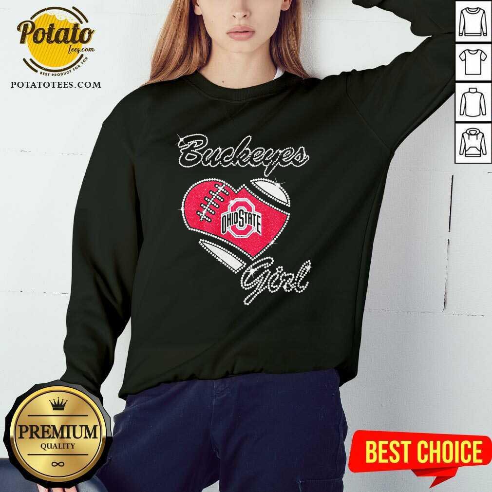 Diamond Heart Ohio State Buckeyes Girl Sweatshirt - Design By Potatotees.com