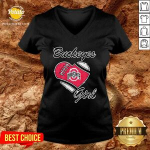 Diamond Heart Ohio State Buckeyes Girl V-neck - Design By Potatotees.com