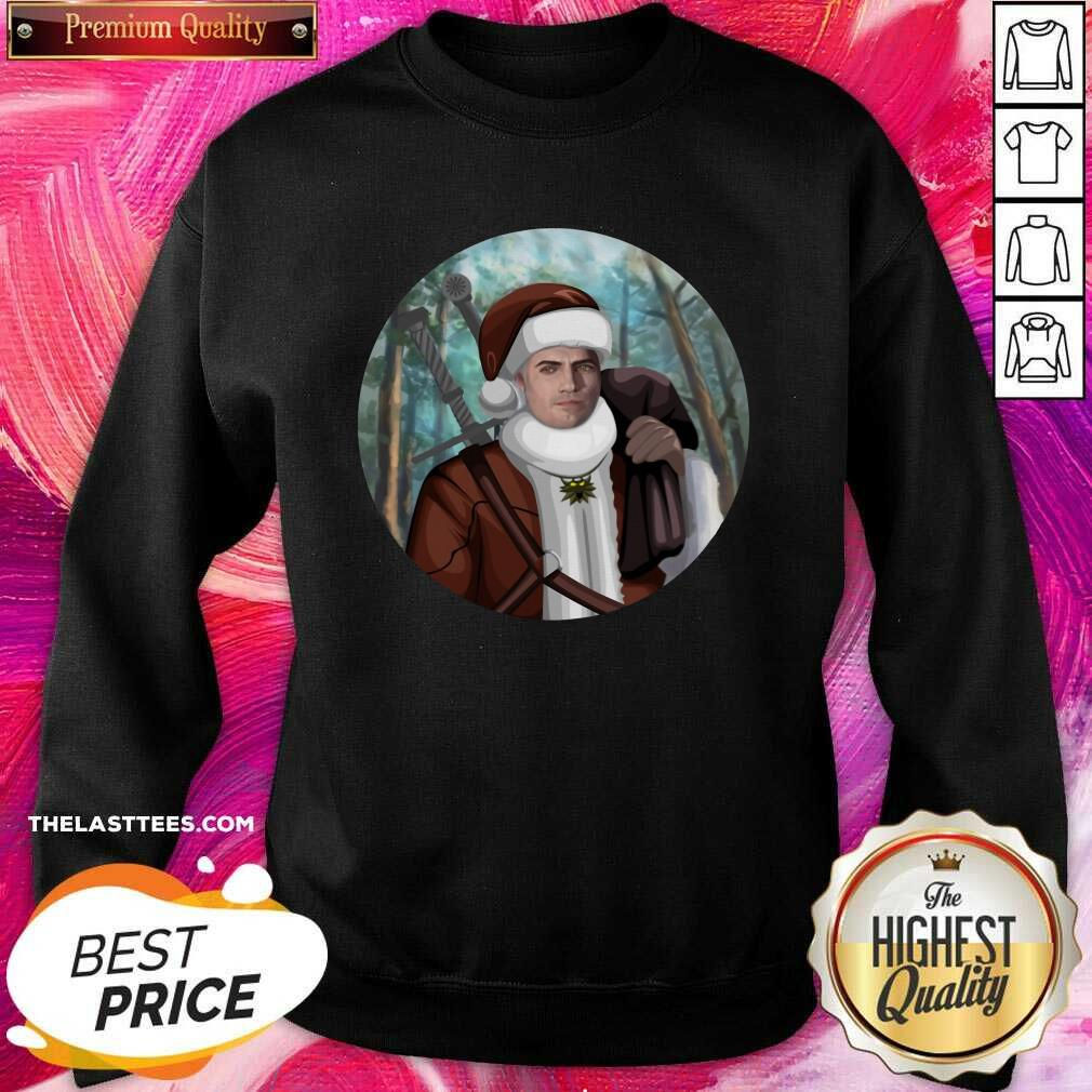 Happy The Witcher Santa Crewneck Sweatshirt- Design By Potatotees.com