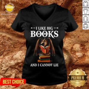 Dragon I Like Big Books And I Cannot Lie V-neck - Design By Potatotees.com