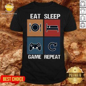 Eat Sleep Game Repeat Vintage Shirt - Design by Potatotees.com
