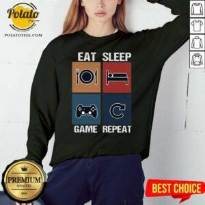 Eat Sleep Game Repeat Vintage Sweatshirt - Design by Potatotees.com