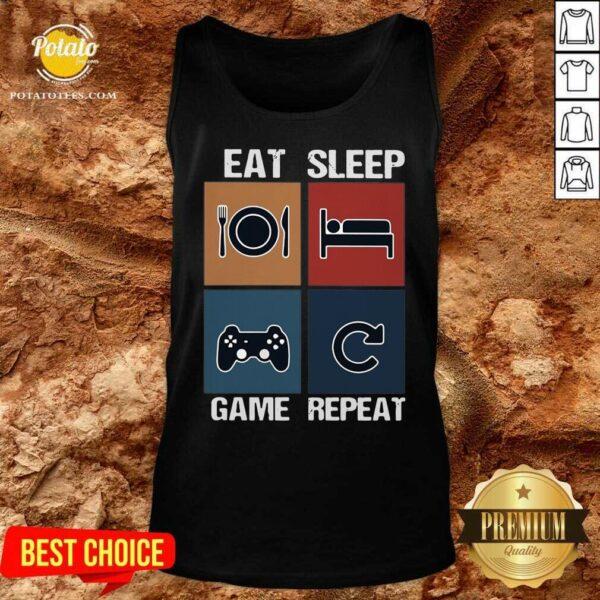 Eat Sleep Game Repeat Vintage Tank-Top - Design by Potatotees.com
